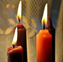 Lighted Advent candles